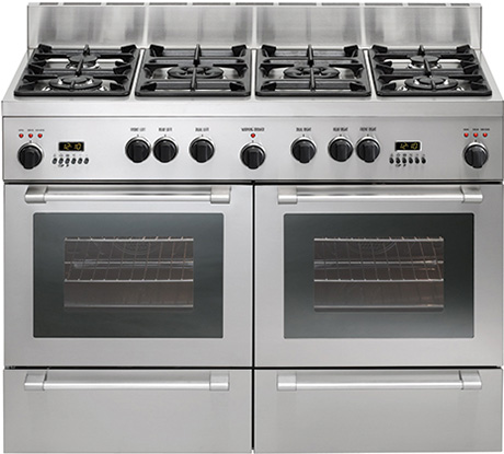 The Stainless Steel Double Oven Range From De Trich Comes With 120cm Wide Six Cooking Zone Hob Featuring Two Triple Ring 4 5 Kw Wok Burners