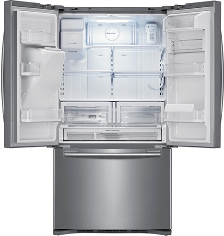 The Samsung Rfg298 And Rf268 French Door Refrigerators Feature Industry First Dual Ice Maker With An External Filtered Water Dispenser Located